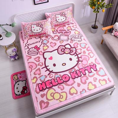 2021新款Hello Kitty提花冰丝凉席三件套 1.5m凉席三件套 炫酷凯蒂猫