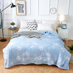 水洗棉印花夏被 150x200cm 暗香-蓝