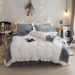 绒系列套件(winter丽丝绒四件套) 三件套床裙款1.2m(4英尺)床 灰