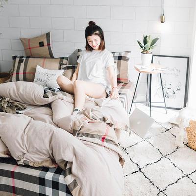 水洗棉四件套(艾米系列) 1.8m(6英尺)床 艾米-深咖格