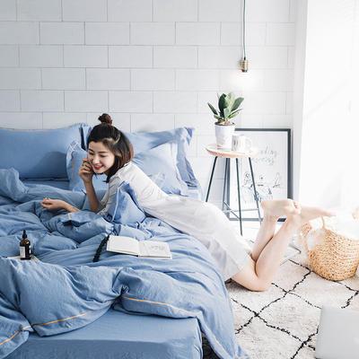水洗棉四件套(安迪系列) 1.8m(6英尺)床 安迪-深蓝