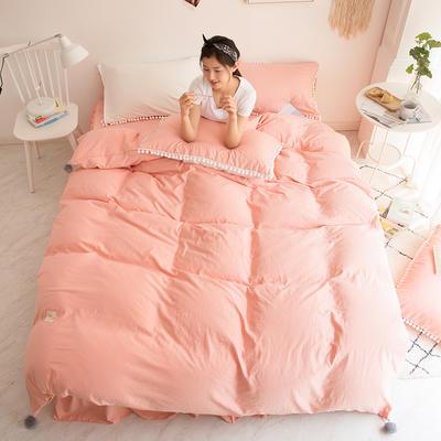2018新款安娜水洗棉床裙款四件套 1.2m(4英尺)床 安娜-玉色