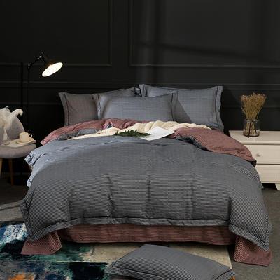 2018新款卡罗水洗棉四件套 1.8m(6英尺)床 卡罗-灰
