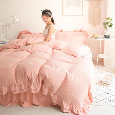 2018新款凯丽水洗棉床裙款四件套 1.2m(4英尺)床 凯丽-玉色