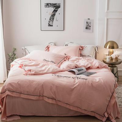 2018新品水洗棉纯色亲肤四件套--爱丽丝 1.2m(4英尺)床三件套 爱丽丝-粉玉