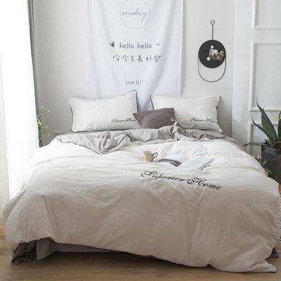 2018新品亲肤水洗棉绣花四件套-克洛伊 1.2m(4英尺)床三件套 克洛伊-柔白