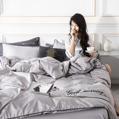 2019新款早安水洗真丝四件套 1.2m床单款三件套 早安-月光银