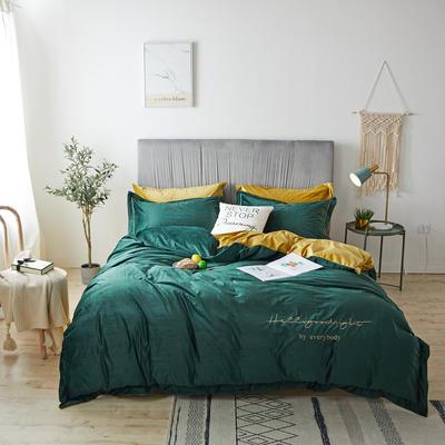 2019新款晚安真丝绒四件套 1.5m床单款 晚安-海藻绿