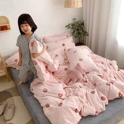 2019新款牛奶绒印花四件套-模特图 1.2m床单款三件套 甜心