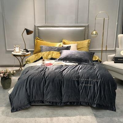 2019新款晚安真丝绒四件套 1.5m床单款 晚安-高级灰