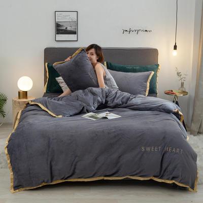 2019新款甜蜜水晶绒四件套-棚拍图 1.2m床单款三件套 甜蜜-高级灰