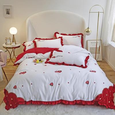 2020新款草莓水洗真丝全棉四件套 1.8m床单款四件套 草莓红