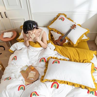 2020新款水洗棉毛巾绣四件套 1.5m床单款四件套 彩虹-黄