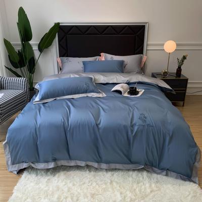 2020新款40s长绒棉四件套-罗曼(实拍图) 1.8m床单款四件套 宾利蓝