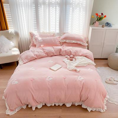 2020新款牛奶绒毛巾绣四件套 1.5m床单款四件套 可爱兔-粉