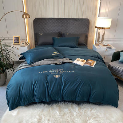 2021新款针织棉四件套 1.8m床单款四件套 宝石蓝