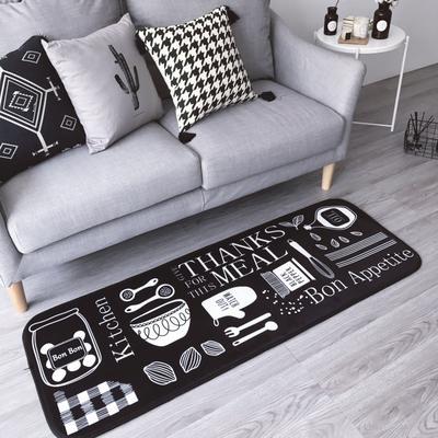 2017新款长条地垫 50*150cm 创意厨房 黑底