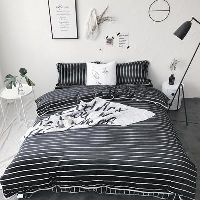 2017亲肤牛奶绒四件套 1.5m(5英尺)床 黑细条