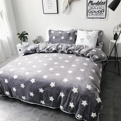 2017亲肤牛奶绒四件套 1.5m(5英尺)床 小星星
