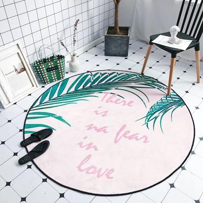 2018新款-chic6月份圆形地毯 145*145 粉底植物
