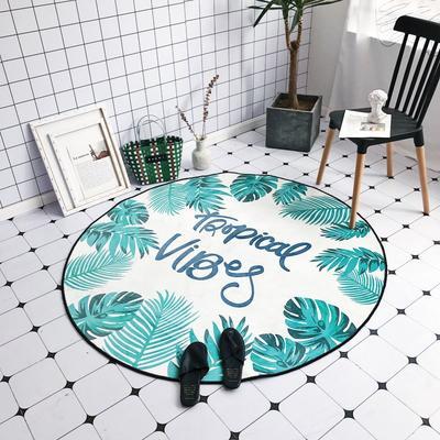 2018新款-chic6月份圆形地毯 145*145 绿叶奶白
