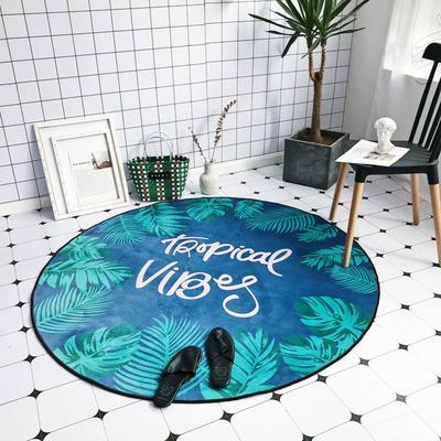 2018新款-chic6月份圆形地毯 145*145 绿叶深蓝