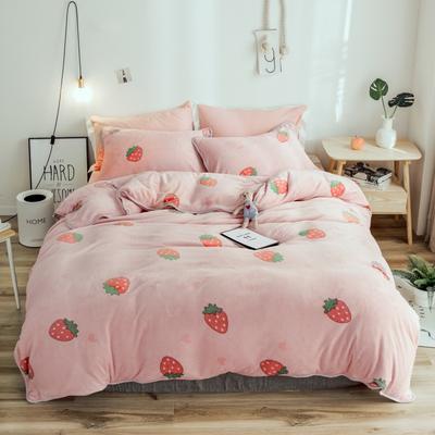 2018年新款牛奶绒四件套 1.8m(6英尺)床 爱心草莓