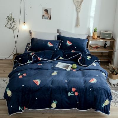 2018年新款牛奶绒四件套 1.8m(6英尺)床 菠萝樱桃