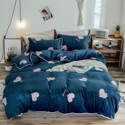 2018年新款牛奶绒四件套 1.8m(6英尺)床 蓝底爱心