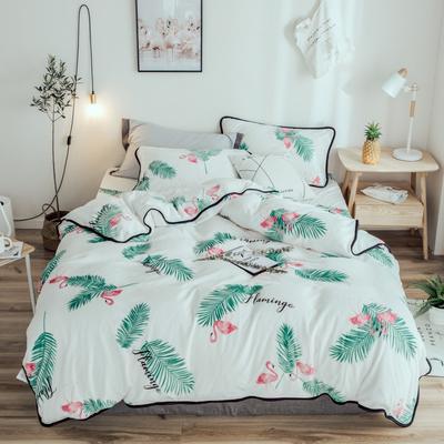 2018年新款牛奶绒四件套 1.8m(6英尺)床 绿叶鸟
