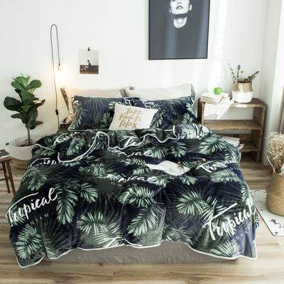 2018年新款牛奶绒四件套 1.8m(6英尺)床 热带植物