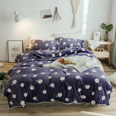 2018年新款牛奶绒四件套 1.8m(6英尺)床 小菊花
