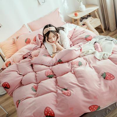 2018年新款牛奶绒四件套(模特图) 1.8m(6英尺)床 爱心草莓