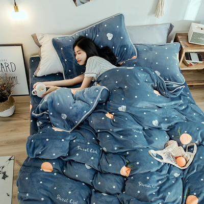 2018年新款牛奶绒四件套(模特图) 1.8m(6英尺)床 爱心橘子