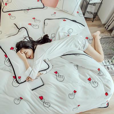 2018年新款牛奶绒四件套(模特图) 1.5m(5英尺)床 比心