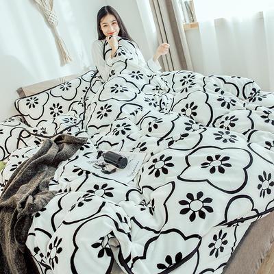 2018年新款牛奶绒四件套(模特图) 1.8m(6英尺)床 花砖