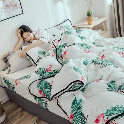 2018年新款牛奶绒四件套(模特图) 1.8m(6英尺)床 绿叶鸟