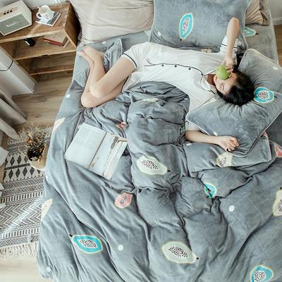 2018年新款牛奶绒四件套(模特图) 1.5m(5英尺)床 木瓜水果