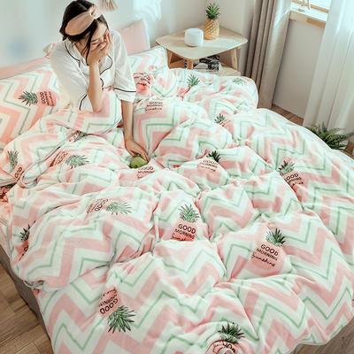 2018年新款牛奶绒四件套(模特图) 1.8m(6英尺)床 线条菠萝
