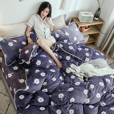 2018年新款牛奶绒四件套(模特图) 1.5m(5英尺)床 小菊花