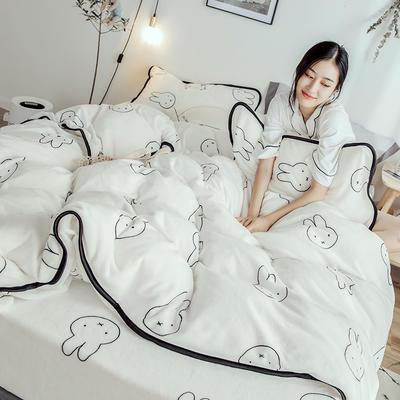 2018年新款牛奶绒四件套(模特图) 1.5m(5英尺)床 小兔乖乖