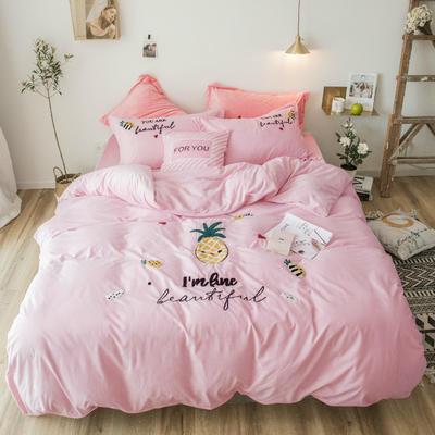 2018新款暖肤绒毛巾绣四件套 1.5m(5英尺)床 菠萝-粉