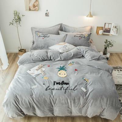 2018新款暖肤绒毛巾绣四件套 1.8m(6英尺)床 菠萝-灰