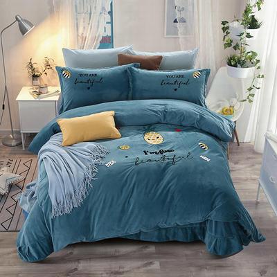 2018新款暖肤绒毛巾绣四件套 1.8m(6英尺)床 菠萝-蓝绿