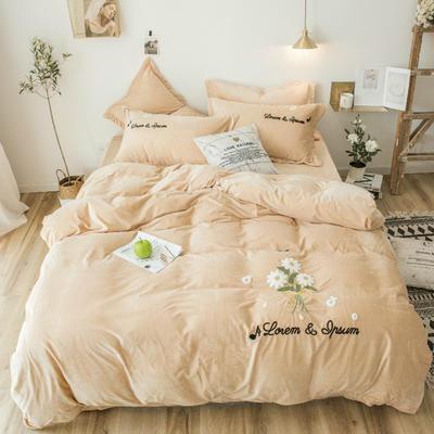 2018新款暖肤绒毛巾绣四件套 1.5m(5英尺)床 雏菊-浅驼