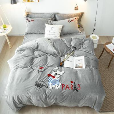 2018新款暖肤绒毛巾绣四件套 1.5m(5英尺)床 法斗-灰