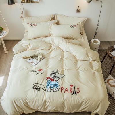 2018新款暖肤绒毛巾绣四件套 1.8m(6英尺)床 法斗-米