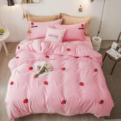 2018新款暖肤绒毛巾绣四件套 1.8m(6英尺)床 粉草莓