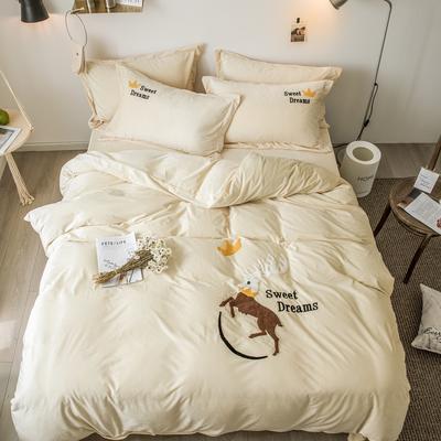 2018新款暖肤绒毛巾绣四件套 1.8m(6英尺)床 梦想马-米