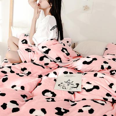 2018新款爆款牛奶绒四件套 1.8m(6英尺)床 豹纹 粉
